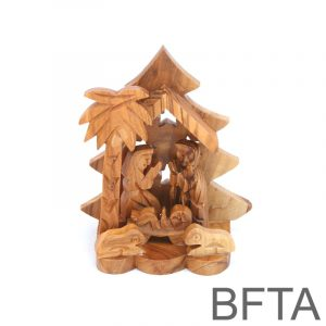Olive Wood Christmas Tree with Star Nativity