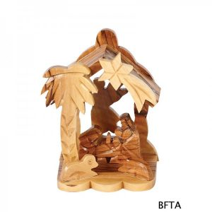 Olive Wood Angel in the Back Nativity