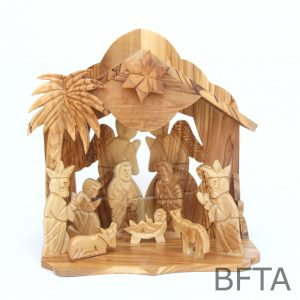 Olive Wood Musical Nativity With Two Angels in the Back and Attached Set