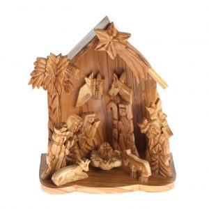 Olive Wood Nativity with two Donkeys in the Back