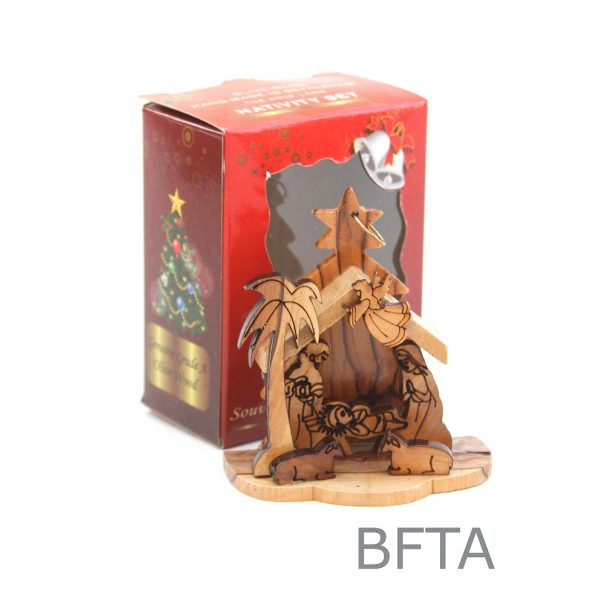 Laser Olive Wood Nativity in a Red Box