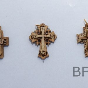 Laser Olive Wood Double layer Cross Pendants different shapes