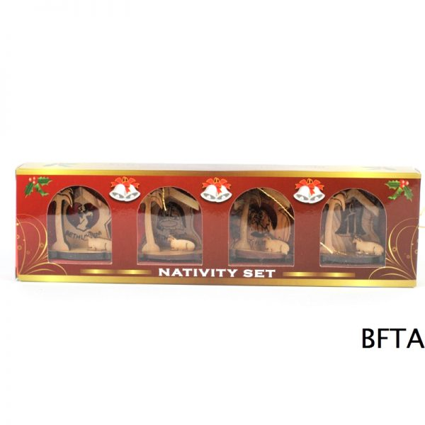 Laser Olive Wood Mini Nativities and Sets  -Set of 4