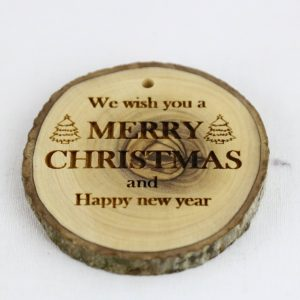 OLIVE WOOD BARK ORNAMENT WITH LASER PRINTING – MERRY CHRISTMAS