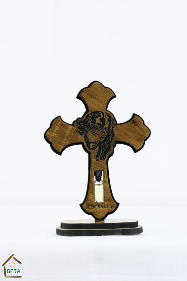 Olive Wood Laser Cross with Jesus Face Printed – with base