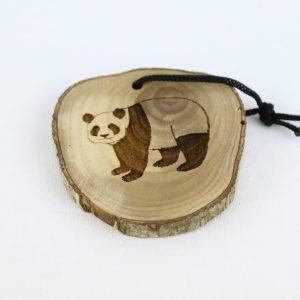 Olive Wood Bark Ornament with Laser Printing – Panda