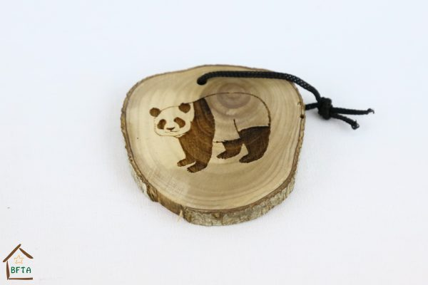 Olive Wood Bark Ornament with Laser Printing – Panda