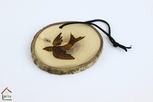 Olive Wood Bark Ornament with Laser Printing – Whale