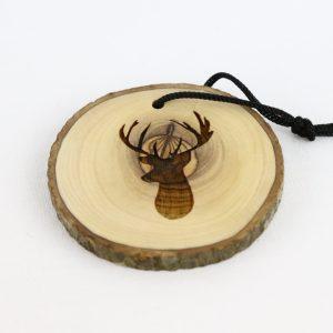 Olive Wood Bark Ornament with Laser Printing – Deer
