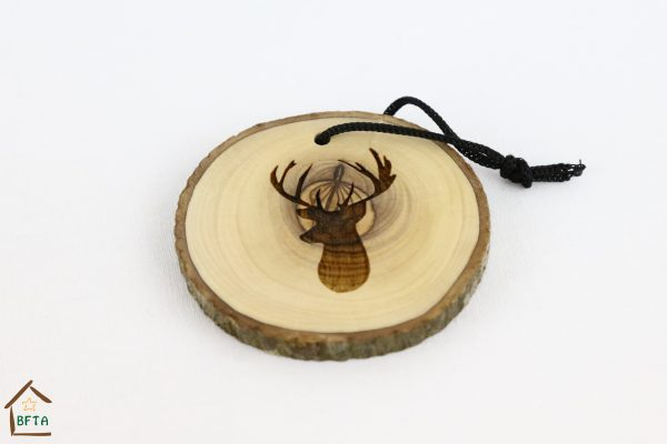 Olive Wood Bark Ornament with Laser Printing – Deer