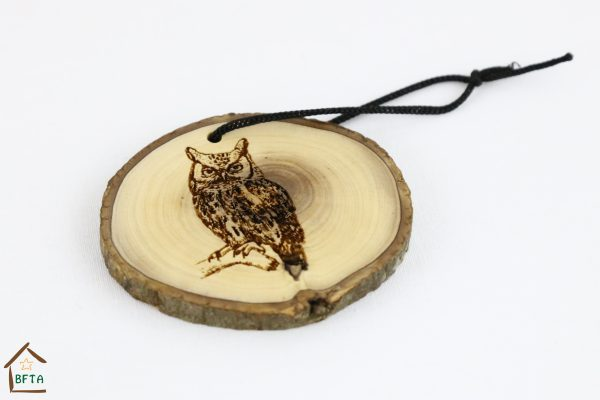 Olive Wood Bark Ornament with Laser Printing – Owl