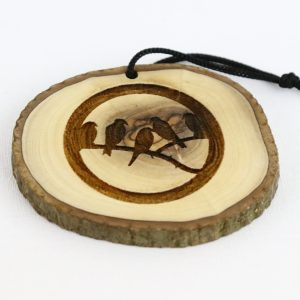 Olive Wood Bark Ornament with Laser Printing – Birds on Branch