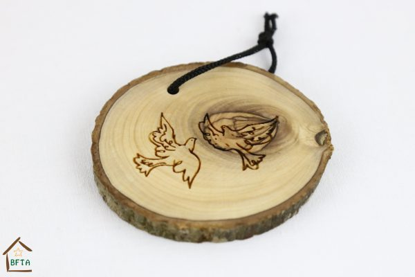 Olive Wood Bark Ornament with Laser Printing – Two Peace Doves