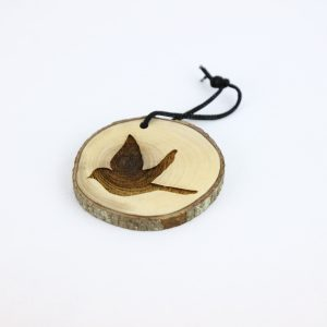 Olive Wood Bark Ornament with Laser Printing – Peace Dove