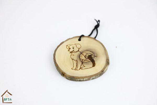 Olive Wood Bark Ornament with Laser Printing – Dog