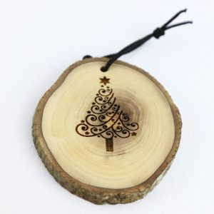 Olive Wood Bark Ornament with Laser Printing – Christmas Tree