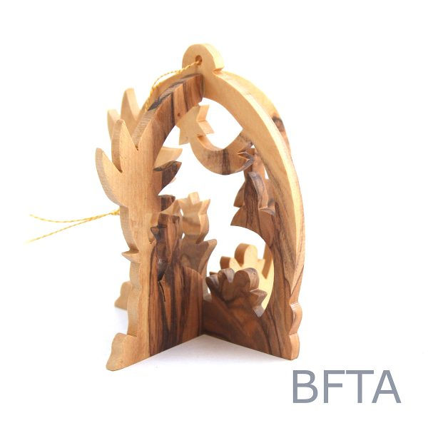 Olive Wood 3D Ornament Nativity