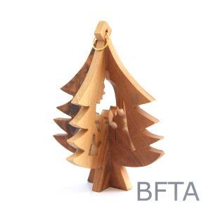 Olive Wood 3D Ornament Chrisms Tree