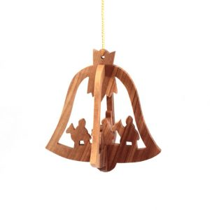 Olive Wood 3 D Bell Ornament - 3 Kings