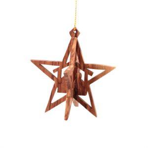 Olive Wood 3 D Star ornament