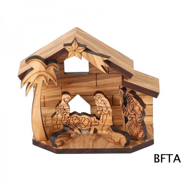 Laser Olive Wood Small Nativity