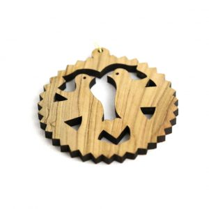 Laser Olive Wood Ornament – Round Two Peace Doves Ornament