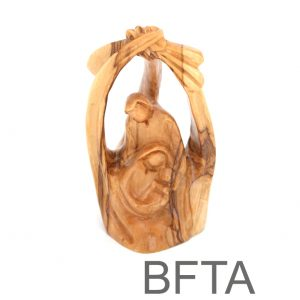 Olive Wood Faceless Holy Family in Nativity