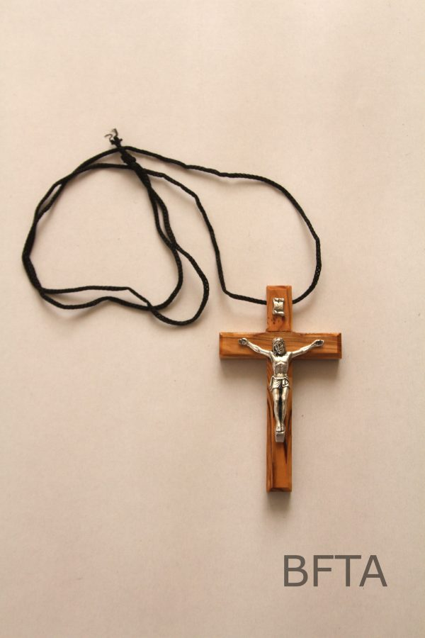 Olive Wood Cross With Black Cord