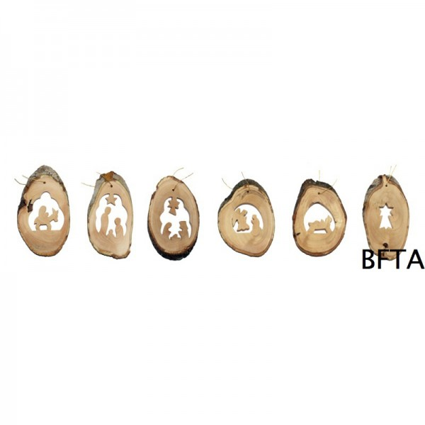 Olive Wood Bark Ornament/each