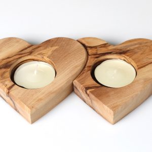 Olive Wood twin heart T-light candle holder