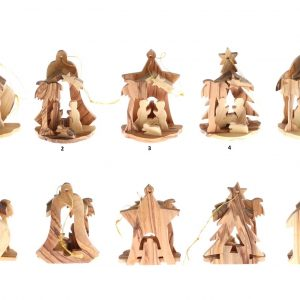 Olive Wood Ornament Nativity – Candle – with box