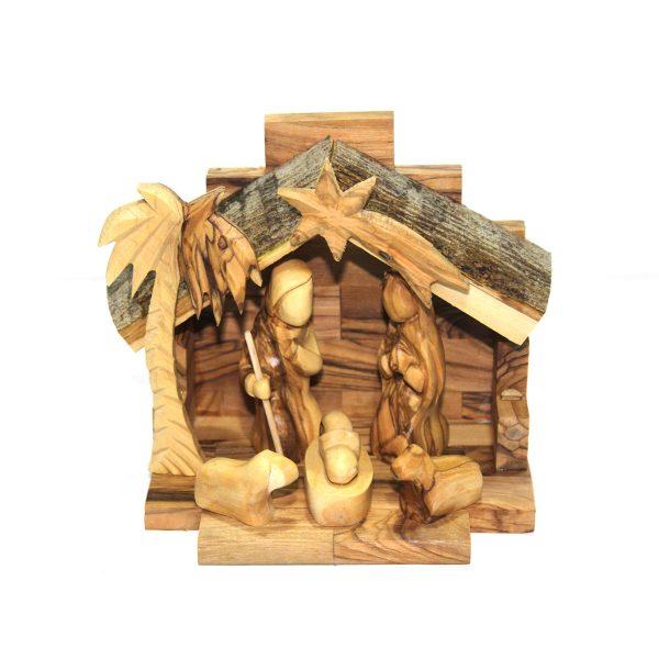 Olive Wood Bark 4 Blocks Nativity