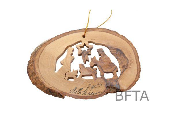 Olive Wood Ornaments (Natural) Nativity
