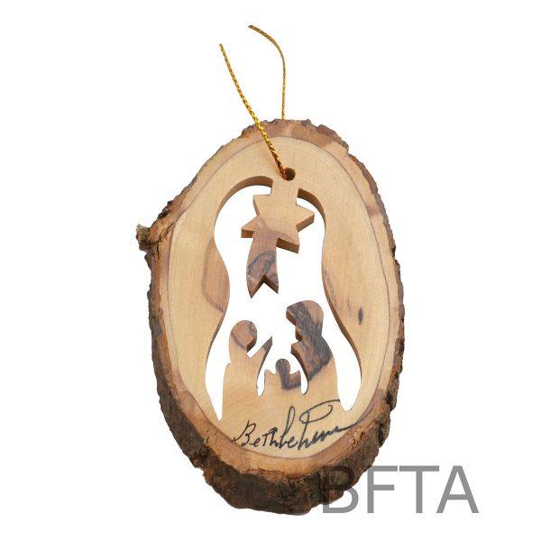 Olive Wood Ornaments (Natural) Nativity closed Star