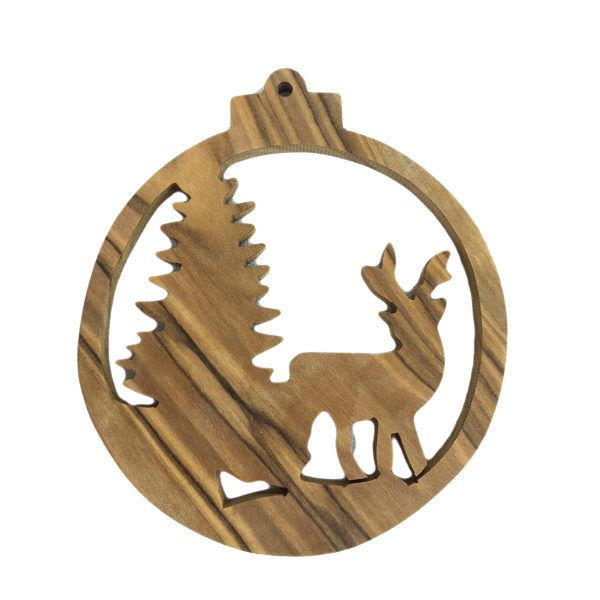 Olive Wood Ornament – Deer with Christmas Tree