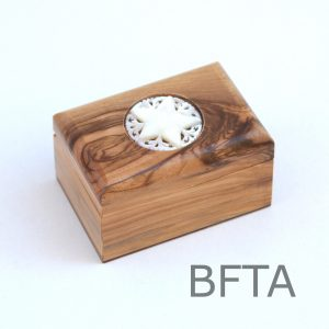 Olive Wood Square Box with Mother of Pearl Brooch