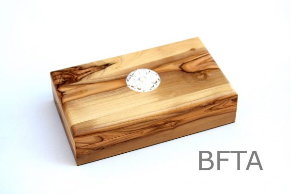 Olive Wood Large Rectangular Box with Mother of Pearl Brooch
