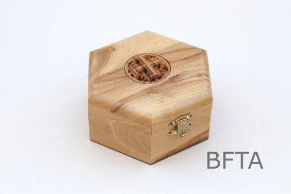 Olive Wood Six Angles Box with Jerusalem Cross on Top