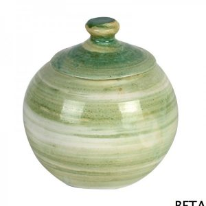 Hand Made Ceramics – Antique Green Round Sugar Pot