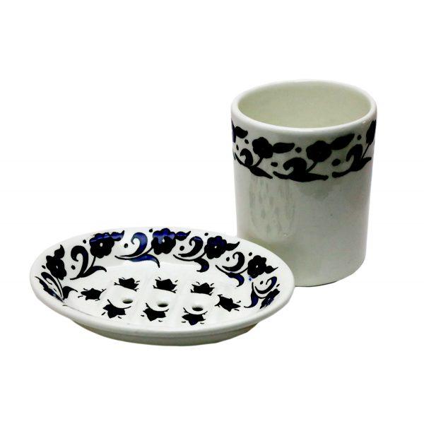 Hand Made Ceramics – Bathroom Set Blue – Mug & Soap Dish