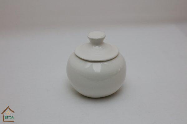 Hand Made White Ceramics – Sugar Pot