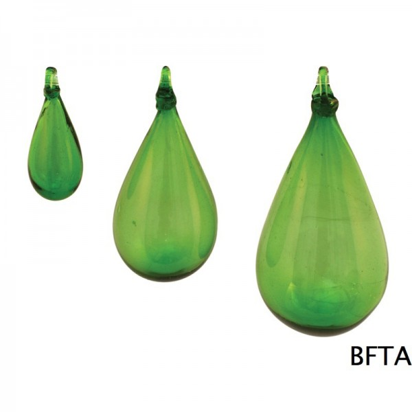 Hand Made Blown Glass – Hanging Tear Baubles GREEN Small
