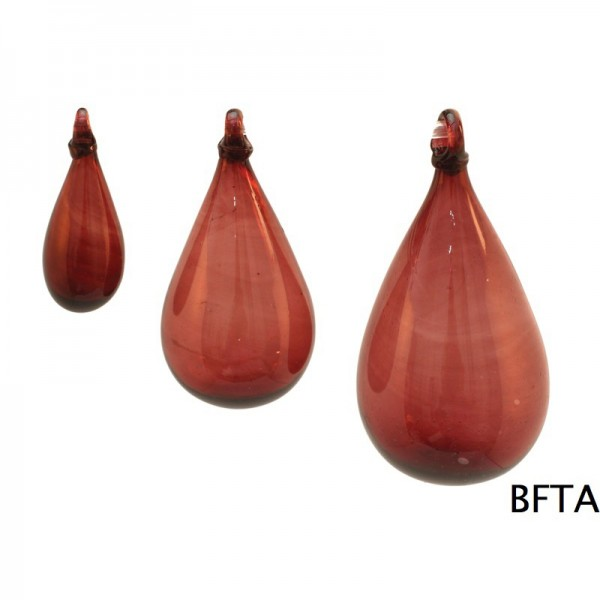 Hand Made Blown Glass – Hanging Tear Baubles RED Small