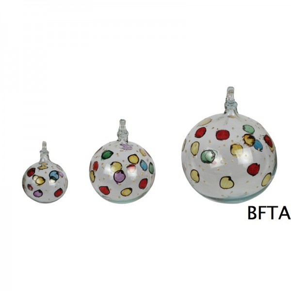 Hand Made Blown Glass – Hanging Ball Baubles – Clear points design Small