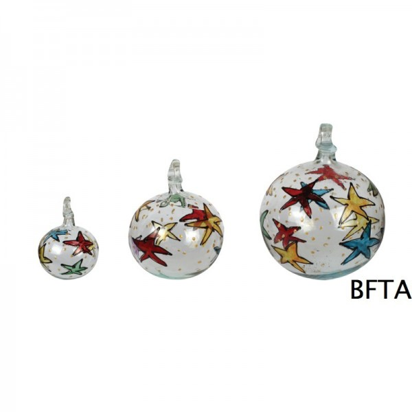 Hand Made Blown Glass – Hanging Ball Baubles – Clear Star designs Small