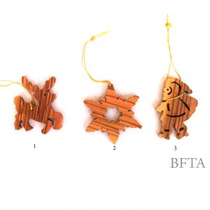 Olive Wood Christmas Ornaments - Set of 3