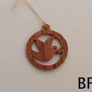 Olive Wood Round Peace Dove Ornament – Small