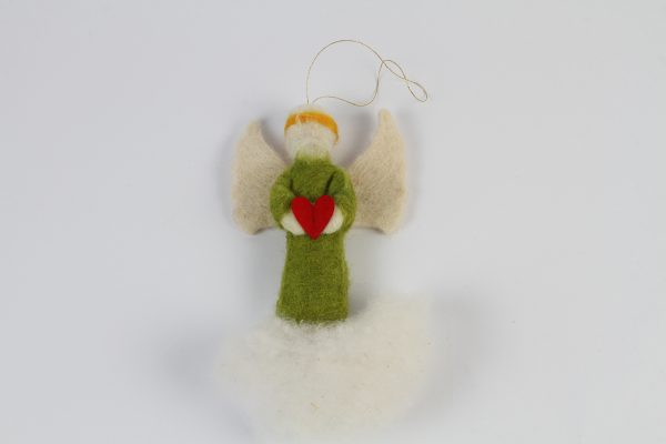Hand Made Felt Wool Green Angel – Medium