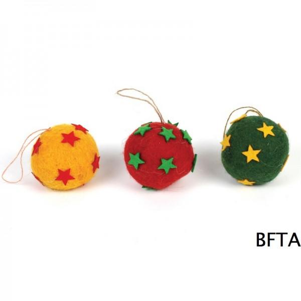 Hand Made Felt Wool Christmas Colored Balls – Set of 3