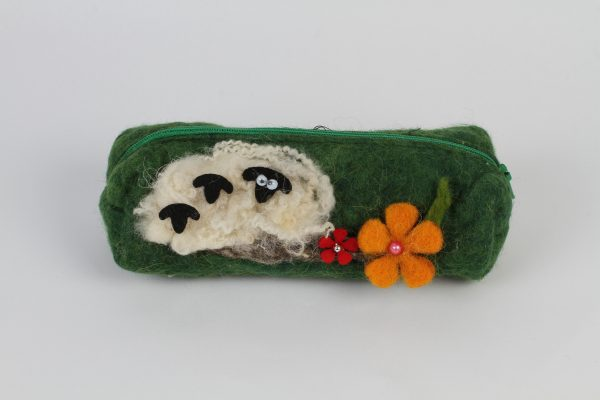 Hand Made Felt Wool Pencil Case – Green